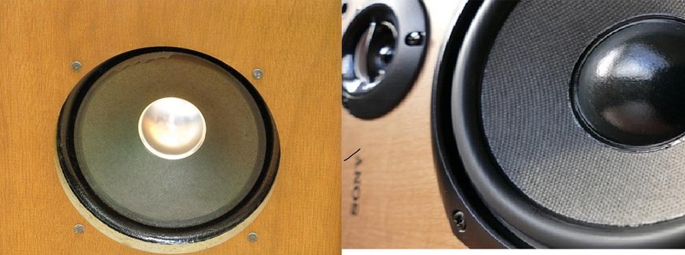 SANSUIスピーカーのエッジについて 当方所有のスピーカー/SANSUI SP-30があるのですが クロスエッジを柔らかくするためエッジにブレーキフルードを塗っています。 確かに柔らかくなるのですが、塗っている最中に気付いたことがあります。 添付の画像、左が当方所有のスピーカーですがエッジ部分が溝になっています。 これは入手した際からこの状態です。 しかしその他スピーカーの画像を見ると右側のように膨らんでいます。 SANSUIのその他のスピーカーを見ても、溝になっているものが多いのですが 仕様でしょうか?またはそういったスピーカーの種類ですか? それとも膨らんでおくべきものが凹んでいるのでしょうか?