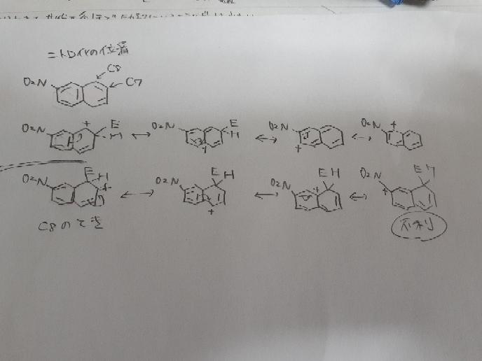 芳香族求電子ニトロ化の反応位置について 2-ニトロナフタレンのときってC5とC7ではないのですか? 答えにはC5とC8と書いてありました。 共鳴で考えると明らかにC7の気がするのですが 間違い箇所教えて頂きたいです。 有機化学 ボルハルトの練習16-25です。