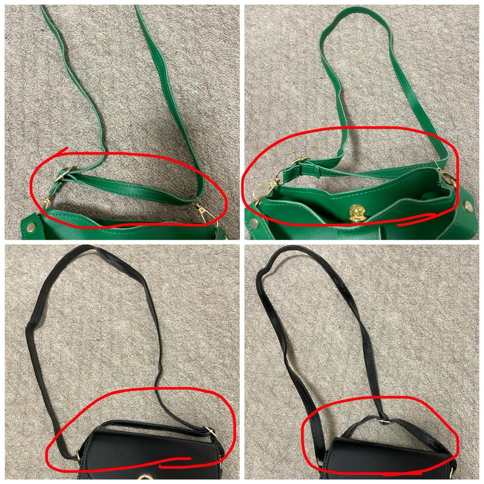 このショルダーバッグのストラップ正しく着いていますか? SHEINという通販サイトで購入したショルダーバッグなのですが、赤丸の部分がおかしい気がします。 ショルダーチェーンのつけ方や似たショルダーバッグを見てどのようについているか見て色々試しましたが画像のようになってしまいます。 不良品なのでしょうか? 私のやり方が間違えていたら教えていただきたいです。