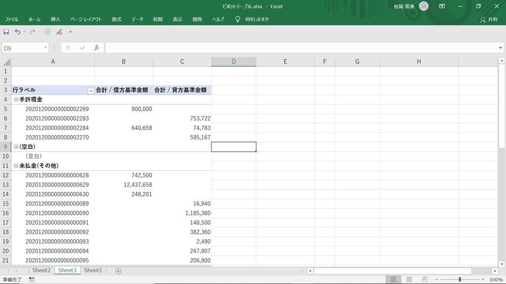 お世話になっております。 Excelのピボットテーブルについて質問なのですが 添付画像のような状況で 手許現金なら借方に金額が入っているときは正の数値で表示させて、 貸方に金額が入っていればマイナスで表示させる。 未払金なら 借方(左)に金額が入っていればマイナスを付けて表示させ、 貸方(右)に金額が入っていればそのままで表示させる。 以上のようなことをピボットテーブルの設定で表示させることは 可能でしょうか。 お詳しい方、どうかご教授をお願いいたします。