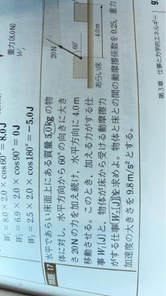 この問題のW2[J]の求め方を教えてください。答えは-32Jです。