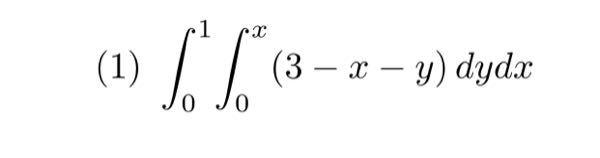 次の積分の値を求めよ.次に積分順序を交換してその積分の値を求め,その値が先に求めた積 分の値と等しいことを確認せよ.という問題です。 分かる方に教えて頂きたいです。 答えと途中式をお願いします。 宜しくお願いします。
