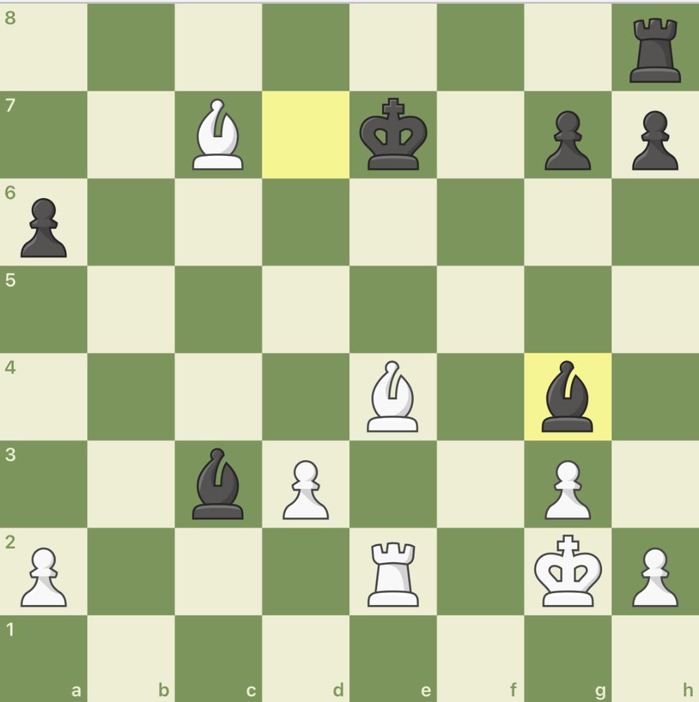 黒ビショップd7からg4に対して 白がf5にビショップを打つ手が良くない理由を教えてください。模範解答は、f3にビショップでした。