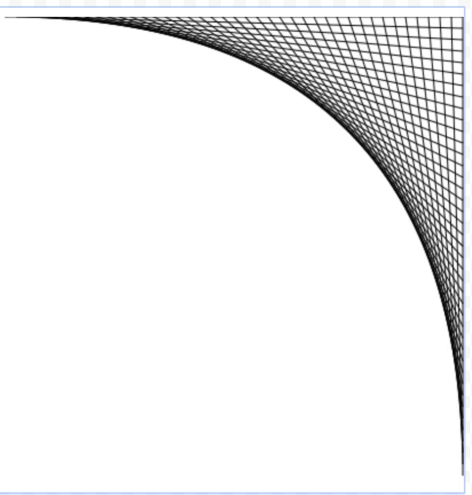 数学、JavaScriptの質問です。 座標上で線を描画して添付画像のような図形を作りたいのですが 始点のX軸とY軸、終点のX軸とY軸をどのように設定すれば良いですか? 座標のサイズは400×400、線と線の間は10として、 始点(x,y)、終点(x,y)を教えて下さい。 for (i=0; i<=400; i+=10){ ctx.moveTo(x,y); ctx.lineTo(x,y); ここのxとyにあたる数値が知りたいです。 説明にわかりにくい部分があればすみません、よろしくお願いします。