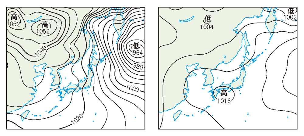 この問題がわかりpません。 天気図の示す季節を答えるl問題です。 よろしkお願いします。