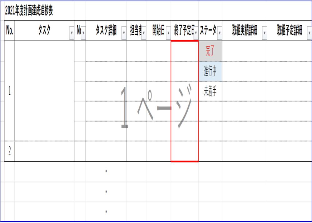 エクセルの条件付き書式について質問です。 業務の進捗管理表なるものを作成しております。 そこに、「開始日」と「終了予定日」を設けています。 「終了予定日」(画像赤枠部分)に、 2021年7月1日~9月30日までの月日が入力されればそのセルが赤に、 2021年10月1日~12月31日までの月日が入力されればそのセルがオレンジに、 2022年1月1日~3月31日までの月日が入力されればそのセルが黄色になるようにしたいです。 お詳しい方がいらっしゃいましたら教えてください。よろしくお願いします。