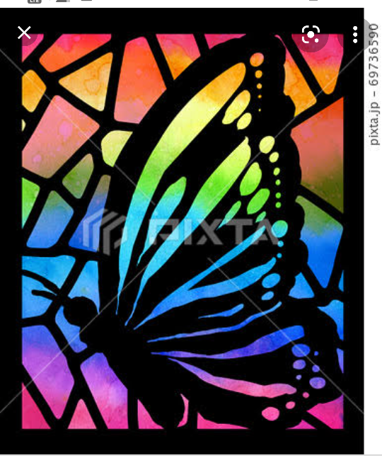 文化祭でステンドグラスを作るんですけど、 これを蝶以外のものを書くとしたら何を描きますか?