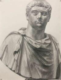 鉛筆石膏デッサン 藝大サイズ 「ゲタ」6hです。 この石膏像の佇まいと胸の服の皺を意識して描きました。 講評よろしくお願いします。