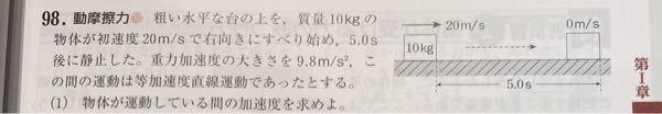 この問題の解答は0=20+a×5.0という式から導くのですが、なぜ速度が0m/sなんですか?