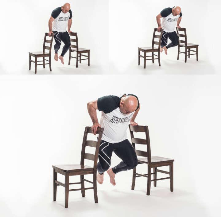 椅子を2つ並べて、その椅子に手をつき 体重を利用して行う筋トレ(画像みたいなの) と 腕立て伏せであどちらが負荷が強いですか? 個人的には短時間でできる画像の椅子筋トレが好きです。