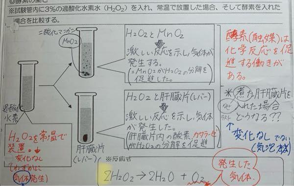 酵素の働きを調べる実験において、 反応式についてなのですが、なぜ2H2O2になるのか分かりません。 2はどこから来たのですか。