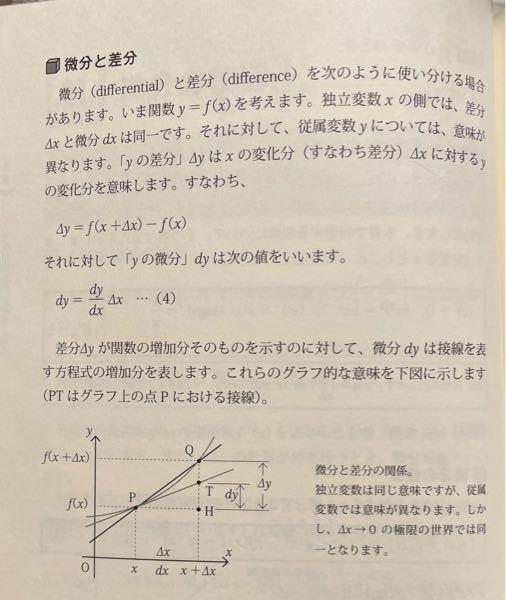 微分について質問です。 画像の dy=(dy/dx)Δxの式の意味が分かりません。 なぜこの式になるのか、なぜΔxをかける必要があるのか、それともこれは定義だから解説もクソもないのか、分かる方お願いします。