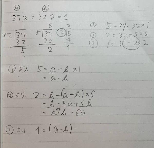 ユークリッドの互除法です。 画像の様に解きました。 いつも必ず❸でわからなくなってしまうのですが、aとbは何か規則性などあるのでしょうか。 ❶と❷において考えてみるといつも同じような式になるので気になりました。 回答お願い致します。