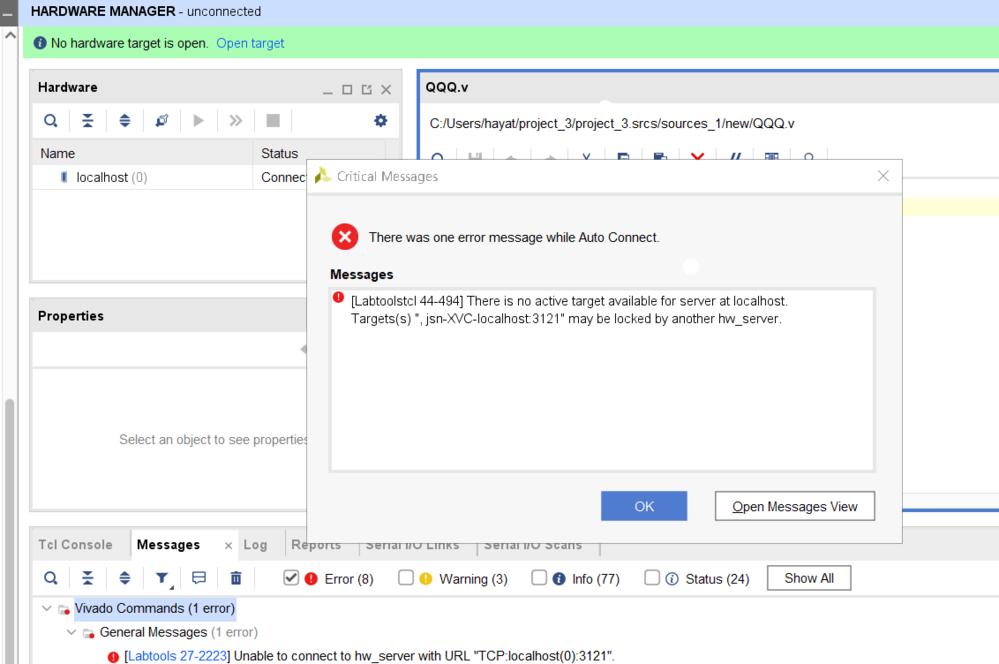 vivadoの Open Hardware ManagerのPen targetを実行したところunnonnectedと表示され画像のようなエラーが表示されたのですがどのような対処をすればよい...