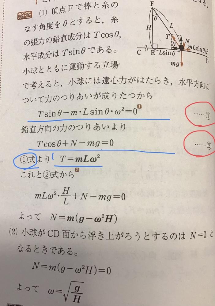 力学の質問です。 (1)のTを求める問題なのですが①と②の両方にTの式が含まれているのになぜ①のみでTを出せるのですか。①と②で連立してTを求めるのではないのですか。教えてください。よろしくお願いします。