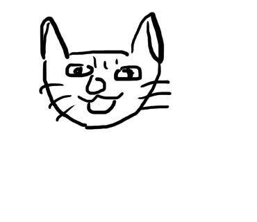 絵が上手い方、下手だったけど上達した方に質問です。 私は幼い頃からとにかく絵が下手で美術は10のうち評価1だったくらいです… 今になって絵を描きたい(特にキャラクターとか)と思っているのですが下手すぎる人間でも努力次第で上手くなれるのでしょうか? デジタル絵に興味があって30分かけて猫を描いたのがこの結果なのですが… ふざけたわけではなく本気の絵でこのレベルです。 上手くなれる可能性ってありますか? あとちょっとしたコツとかありましたら教えていただきたいです。