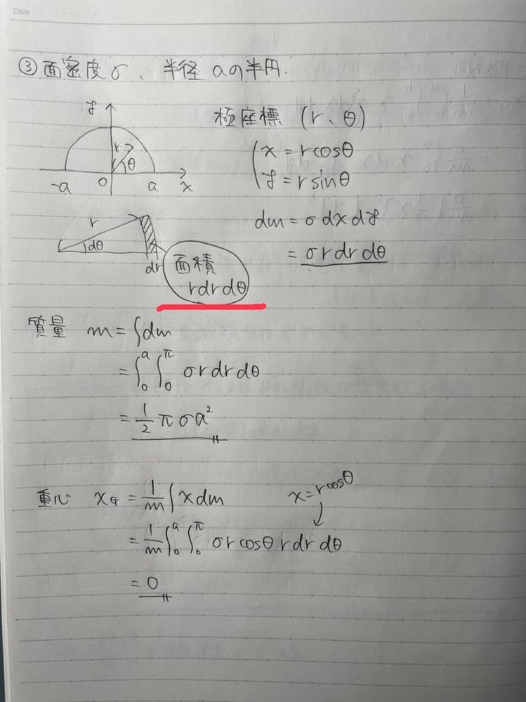 大学物理の質問です。 今重心についての授業を受けているのですが、なぜ画像の網掛け部分の面積がrdrdθになるのか教えていただきたいです。