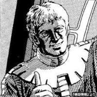 ジョニーライデンのイラストの初出はこれでしょうか? MSVの本に載ってたイラストです。 昔、ジョニーライデン専用ザクのプラモ買いましたが 取説に長々とストーリー的なものが書かれていましたが そもそもジョニーはどんなお顔をしてるのか不明でした。