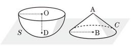 高校数学Ⅰの問題です。 「半径6の半球S, 底面の半径6, 高さ6の円錐Cが図のようにOD, ABが水平な面と垂直になるように置かれている。 水平な面からの高さが3である平面で半球を2つの部分に分けるとき、大きい方の体積を求めよ。」 自分では以下の部分まで考えましたが、この先が分かりません。 ・半球の断面の円の半径は、三平方の定理より 3√3、面積は 27π ・円錐の断面の円の半径は、相似な三角形の長さの比より 3、面積は 9π ・(方針)カヴァリエリの原理を使い、円錐との体積比から半球の切断部分の体積を求める ※数Ⅰ範囲なので微積を使わずに解きたいです。 出典は「長岡先生の授業が聞ける高校数学の教科書」142ページ、演習4-4の3です。 よろしくお願いいたします。