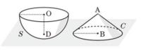 高校数学Ⅰの問題です。 「半径6の半球S, 底面の半径6, 高さ6の円錐Cが図のようにOD, ABが水平な面と垂直になるように置かれている。 水平な面からの高さが3である平面で半球を2つの部分に分けるとき、大きい方の体積を求めよ。」  自分では以下の部分まで考えましたが、この先が分かりません。 ・半球の断面の円の半径は、三平方の定理より 3√3、面積は 27π ・円錐の断面の円の半径は、相似...
