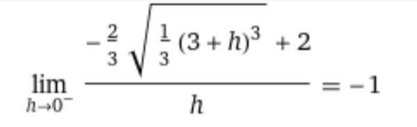 写真の片側極限(h→-0)を求めるときの途中式教えてください。 よろしくお願いします。
