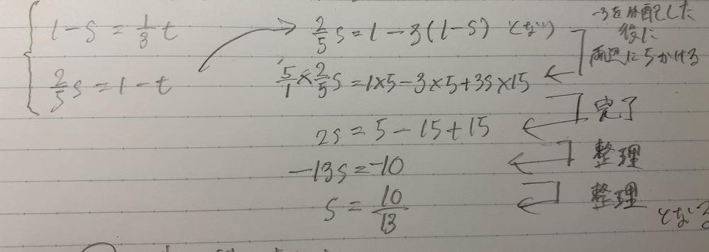 数学Bの交点の位置ベクトルの問題なのですが連立方程式で2つの式を整理する時になぜ 5分の2s=1-3(1-s) になるのかが分かりません! 写真はネットの記事を参考にといていったものなので今回の部分だけ理解出来ていません。 どなたかご教示ください!