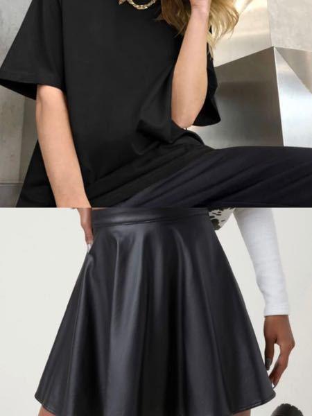レザーのミニスカートに黒や灰色のTシャツはおかしいですか? 写真の感じです。 合わなければ、黒のレザーのスカートには何を合わせればいいと思いますか? よろしくお願いします。