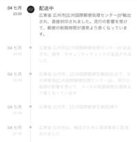 Sheinの配達状況です、  今どういう状況なのか詳しい方教えてください  (見にくいため) 04七月 配送中 広東省[広州国際郵便処理センター]が輸出され直接封印されました。流行の影響を受けて、郵便の制限時間が通常より長くなっています。  04七月 広東省[広州国際郵便処理センター]が返送され、 備考:セキュリティチェックが返送されました。  となってます、