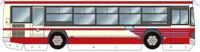 バスの塗装について質問です。 添付画像のようなクリーム色に赤ストライプの塗装をしたバスがどこのバス会社のものかご存じの方は教えていただけると助かります。 調べた限りでは近鉄バスの旧塗装が色合いとしては似ていますがストライプの形が違うようですし、また名古屋市営バスの青ストライプの塗装と形は酷似していますが色が違うようです。
