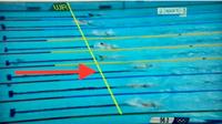 動画編集ソフトで図のようなラインを引けるソフトはありますか?  こんにちは。 動画編集未経験の者です。 水泳中継によくある、各選手がどのくらいの差で線の位置を通過したか。というような動画を作りたいです。 イメージとしては、固定で線(フリーハンドではなく、直線です)を挿入してから0.1秒〜1秒間は線を表示したままにして、動画のみを再生して、通過する差を見るといった感じです。 上記編集...