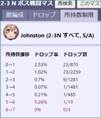 艦これ  2-3 ジョンストンドロップ率  例のサイトを見ていると、ドロップ率 0→1 2.53% 22/870 1→2 1.02% 23/2259 2→3 0.7% 9/1281 3→4 0.07% 1/1481 4→5 0.21% 1/485 5→6 5.26% 1/19 6→7 0% 0/4  上記は、4隻掘った人が1人いて その人が5人目と6人目掘って、現在7人目を4回掘っているとい...