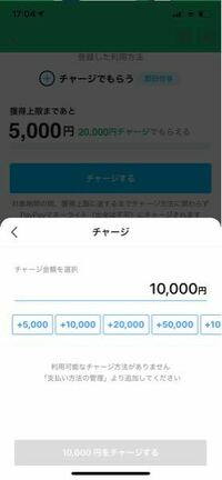 Paypayで、マイナポイントで20000円チャージして5000円を受け取れると聞いてマイナンバーカードを発行し、マイナポイントも登録して20000円チャージする工程になったのですが、 画像のように支払う方法がないと言われます。 どこに問題があるのでしょうか、