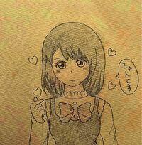 【絵を描きました(*´꒳`*)】 恋する女の子です(●´ω`●)率直に感想ください(*´-`)