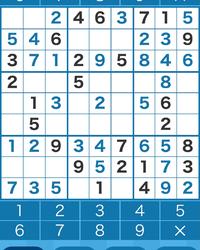 数独の問題です。 行き詰まったので、どなたか分かる方、ヒントをいただけないでしょうか? 黒字が元から入っていた数字です。 青字が私が入れた数字です。 途中からで分かりにくいかと思いますが、次にどこに注目すれば解けますでしょうか? よろしくお願いします。