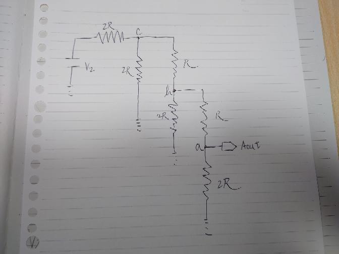 合成抵抗を求めていって、最終的にAoutの値がV0/8になるみたいなのですが計算があいません。回答お待ちしておりますm(_ _)m