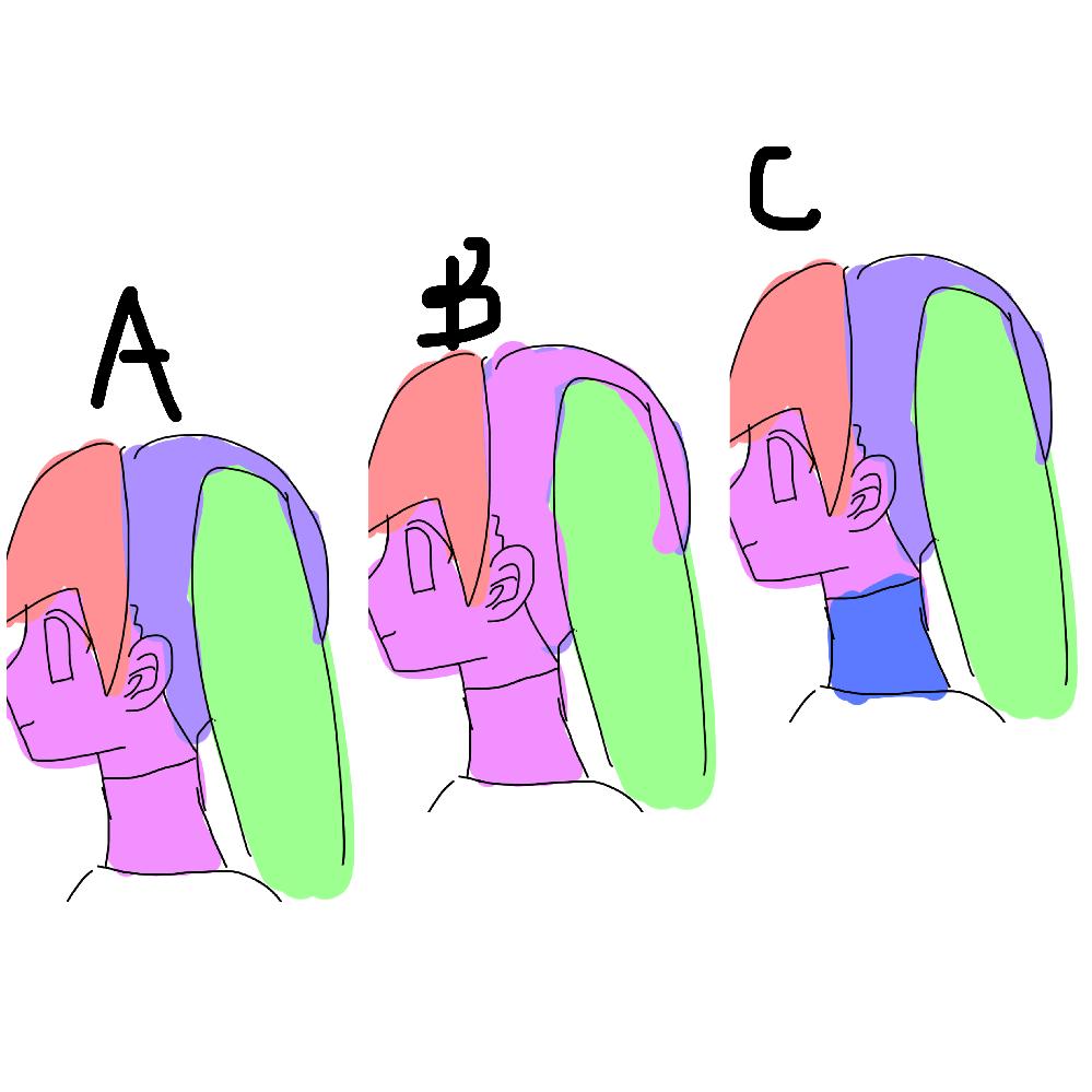フィギュア制作の分割について はじめまして。最近趣味でフィギュア造形をはじめたのですが、 頭部を作る際の分割?ダボ?がわからず困っています。 ツインテールで、タートルネック(首が詰まってる服)の女の子を作りたいです。 顔と後頭部を分けるべきか,別々にするべきか 顔と首をつなげるべきか、首は体につなげるべきか タートルネック部分で分割すればいいのか、首の付け根で分割すればいいのか また、大体形を作ってから切るのか、あらかじめ別々に作っておくのか をだれか教えていただきたいです。 ネットを見て、足や体は後から切断してる人が多いのですが 顔と髪の毛と首ははじめからダボ作って分けて作っている方が多いような気がします。 画像のどの分割がいいのでしょうか?