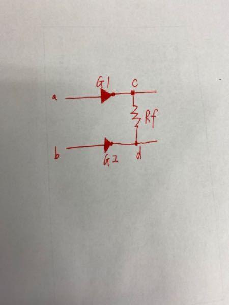 電子回路の質問です。 図1の回路(2個のNOTゲートの出力が抵抗Rfで短絡(ショート)してい回路)についての問いに答えてください。 条件:回路の電源電圧=5V、pMOSのオン抵抗=1KΩ、 nM...