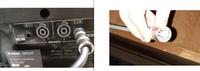 お願いします。 図の左側はパワードミキサーです。 右側はスピーカーのコードです。スピーカーのコード 接続口も4ピンです。 このミキサーとスピーカーをつなげたいのですが、 どうやればいいのでしょうか。 変換器などあるのでしょうか。  よろしくお願いいたします。