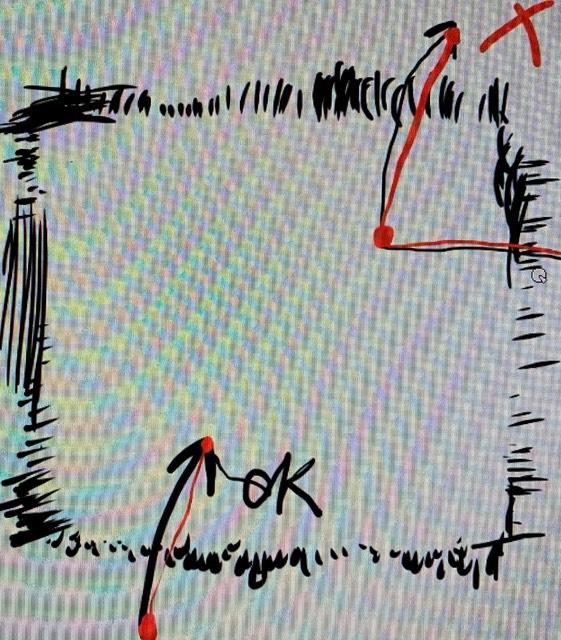FireAlpacaについての質問です 最初は問題なく絵が描けてたのですが、使い始めて2日目か3日目ぐらいから突然中心部分が反応しなくなりました。逆に中心部以外の所は反応します。 しかし、反応する部分から反応しない部分まで線を描くと問題なく描けます。 分かりにくいですが下の写真を例として置いて起きます。(赤丸から赤丸の場所まで) デフォルトで付いているペイントでは普通に描けました。 ペンタブの種類はWacom Intuos Comic CTH490/K1でFireAlpacaのバージョンは2.5.8です。 以前私が原因を調べた際似たような現象に悩まされてる方がいたのですがベストアンサーの方が掲示していた解決策のリンクが消されていて見ることが出来ませんでした。(._.) キャンパスの場所を少しずらせば描くことは出来るのですがとても不便です。 原因が分かる方よろしくお願いします。