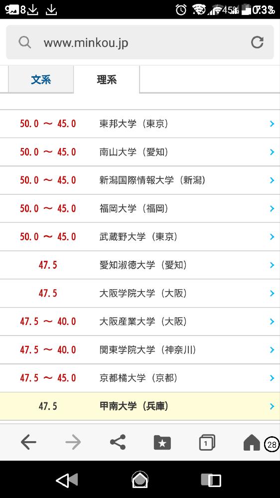 甲南大学の理系は大阪産業大学、大阪学院大学より格下ですよね?