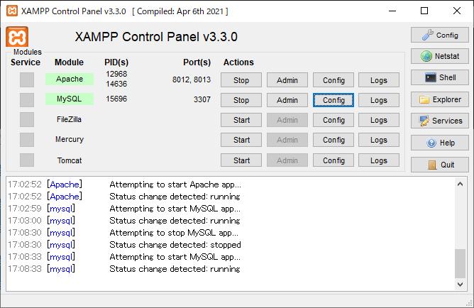 "XamppでPhp、Mysqlを動作させたく作成しています。 1.エラーメッセージ Warning: mysqli_connect(): Error while reading greeting packet. PID=14636 in C:\xampp\htdocs\regist.php on line 9 Warning: mysqli_connect(): (HY000/2006): MySQL server has gone away in C:\xampp\htdocs\regist.php on line 9 Fatal error: Maximum execution time of 120 seconds exceeded in C:\xampp\htdocs\regist.php on line 9 2.問題となっているソース <html> <head> <meta http-equiv=""Content-Type"" content=""text/html; charset=utf-8"" /> <title>アドレス登録</title> </head> <body> <?php $con = mysqli_connect('localhost', 'root', '28730761','bbs_db1','8012'); if (!$con) { exit('データベースに接続できませんでした。'); } ・・・ 3.どこがいけないのでしょうか? 下記サイトのようにPort=8012⇒3307など買えても逆にPortが違うようなコメントが 表示してもっとダメなような感じです。 参考) https://teratail.com/questions/68545"