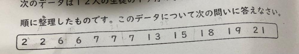 このデータの四分位数と四分位範囲がわかりません。教えてください また、解き方を教えてくださると助かります。
