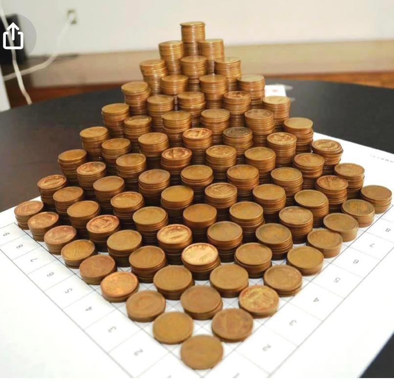 かけ算九九表 立体モデルを作りたい! 写真のようなものを作りたいのですが、何で作るのがベストでしょうか...? 全部で2025枚必要です。 紙を丸く切る⇨安いが手間がかかる 1円玉を用意す...