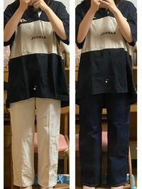 至急お願いします!このシャツだとどちらのズボンが合う思いますか??形がいけないのかどちらも違和感がありまして、 回答よろしくお願いします。!