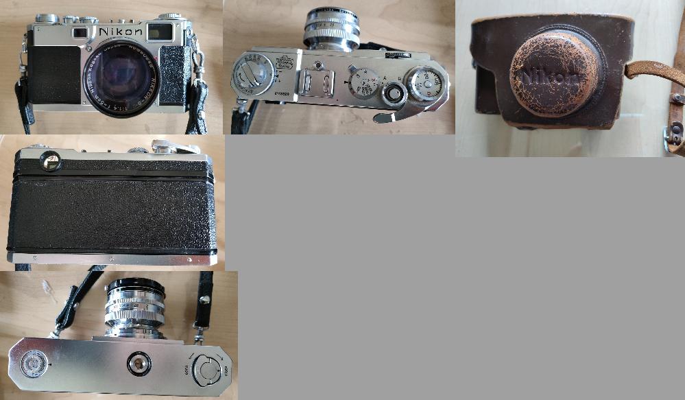 亡くなった身内よりニコンの古いカメラを思い出にいただいたのですが、カメラに製品名の記載がなく、ニコンの古い一眼レフのリストを見ても写真で同じものがなく、製品名が分かりません。 Fに近いように思えますが、もう少し古いカメラなのでしょうか。 電池を使用しないレンジファインダーでレンズ固定式です。 レンズには以下の表記があります。 NIKKOR-S・C 1:1.4 f=5cm Nippon Kogaku Japan どなたかカメラに詳しい方、製品名が分からないでしょうか。 よろしくお願いいたします。