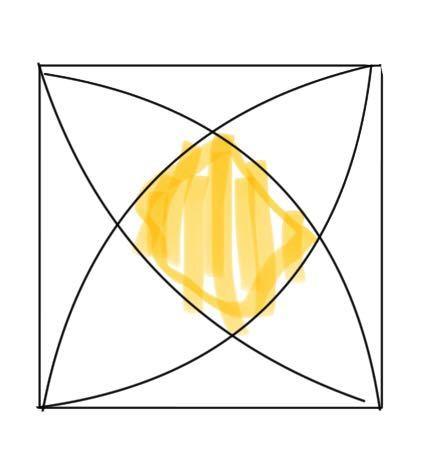 黄色の部分の面積の出し方を教えて下さい。 一辺が6㎝の正方形です。 精密に書けていませんが、正方形の中に1/4扇形がぴったり入ってる形だと思って下さい。