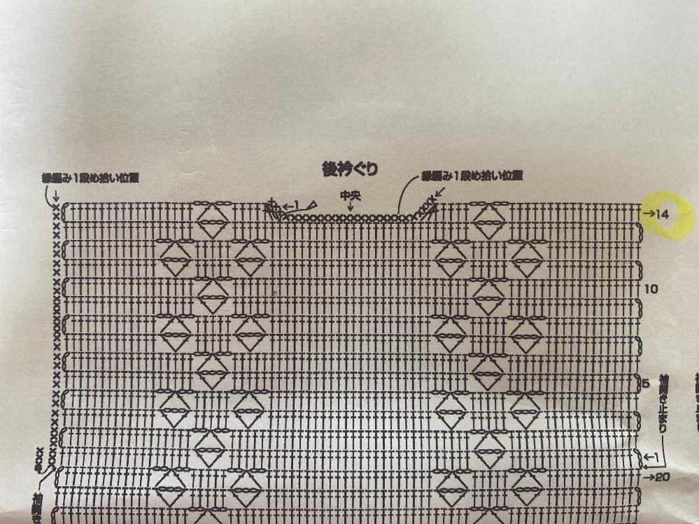 かぎ針の編み図について質問させてください。 編み図の14段目の編み方ですが、左側を編み、糸を切ったあと右側はどのように編めばよいのでしょうか? ←1と書いてある細編みから編んで、→14に繋げれば良いのでしょうか…? それだと長編み3目1度の部分はどのように編めばいいのか分からず質問させていただきました。 検索してみたのですが、欲しいの答えが見つからず…教えていただけたら嬉しいです。 よろしくお願いいたしますm(_ _)m