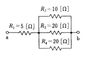 図の回路の端子a.b間に電位差100[V]を加えたときの各抵抗の消費電力P1、P2、P3、P4を求めよです。お願いします。