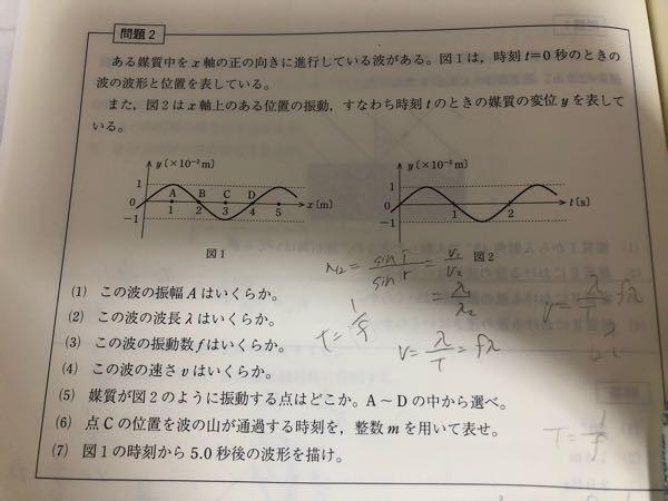 物理の波動に関する問題です。 (3)の答えはf=0.5Hzなのですが、求め方が分かりません。どなたか教えてください!