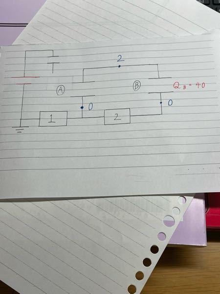 コンデンサーの問題について下手な図で申し訳ないのですが、 下の図の抵抗2に流れる正の電気量について知りたいです。Bの電気量は40[C]で、コンデンサーより上の電位と下の電位はそれぞれ2と0です。 解説には「左向きに40[C]流れる」とだけ書いてありまして、恐らくこの40という値はBの電気量から出てくるものだと思いますが、「コンデンサーの電気量=流れる量」となるのが分からなくて混乱しております。